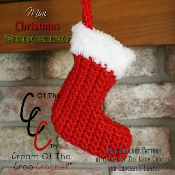 Free crochet pattern for a mini Christmas stocking by Cream Of The Crop Crochet for CrochetN'Crafts. Hang it over the fireplace or on your Christmas tree.