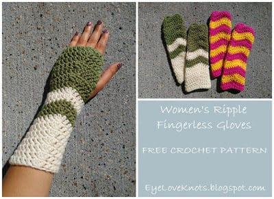 Rippled Fingerless Gloves Modeled on a Women's Hand.