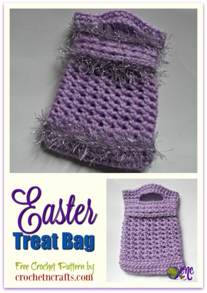 "A crochet Easter treat bag with and without fun fur. The finished bag as instructed in the free crochet pattern measures 4"" across by 5.5"" high."