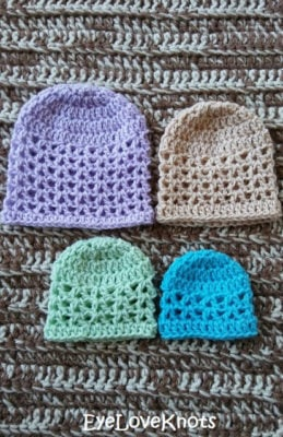 Crochet preemie beanie pattern in four sizes from EyeLoveKnots.