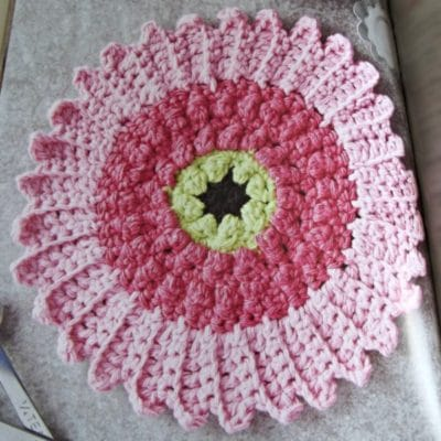 Cute Cosmos Flower Dishcloth pattern to decorate your kitchen.