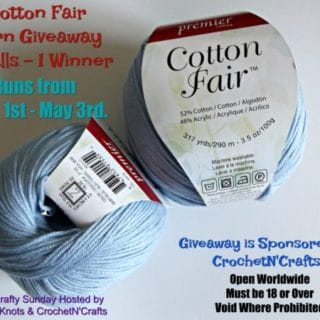 Two balls of Cotton Fair yarn to giveaway to one lucky winner.