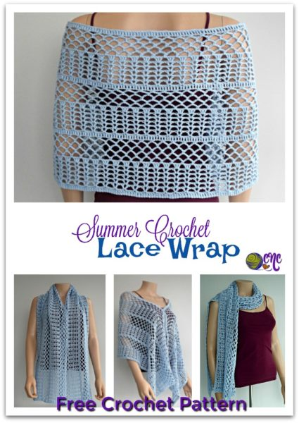 Photo collage of a lacy crochet wrap that can be worn in many ways. The image shows a close-up of the wrap as it's draped across the back, as well as pinned at the front and worn like a scarf.