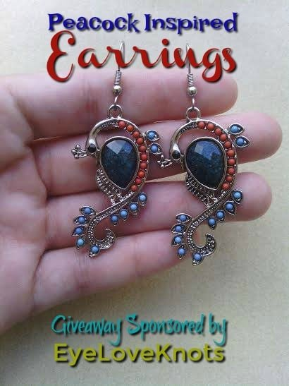 Giveaway sponsored by EyeLoveKnots for a pair of peacock inspired earrings.
