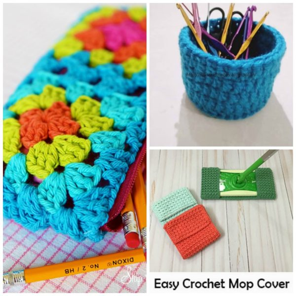 Some of my favorite crochet patterns featured are a granny pencil case, organizer and mop cover.