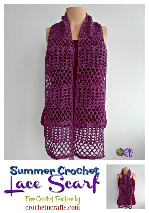 Free crochet pattern for the summer crochet lace scarf. It's modeled on a mannequin and worn long to show off the beautiful lace.