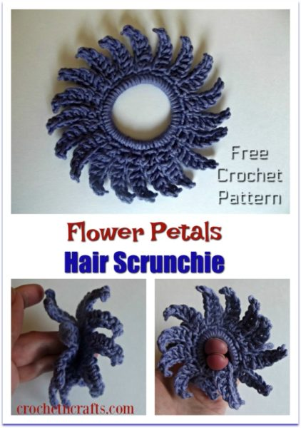 Free pattern for a flower petals crochet hair scrunchie. It is shown here flat as well as wrapped around two finger.