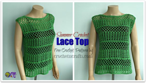 Free crochet pattern for a summer crochet lace top. It's shown in two images; one with a side view and the other from the front.
