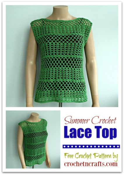 Summer Crochet Lace Top modeled on a mannequin and shown from the front as well as from the side.