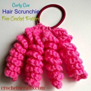 Curly Cue Hair Scrunchie ~ Free Crochet Pattern