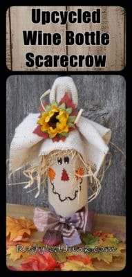 Upcycled Wine Bottle Scarecrow by Cyndee Kromminga from Restyled Junk.