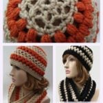Lace and Puff Crochet Hat and Cowl Pattern Set.