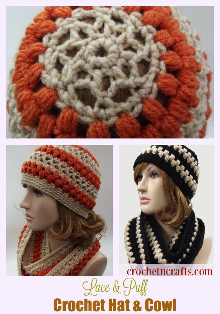 Lace And Puff Crochet Hat And Cowl Crochetncrafts