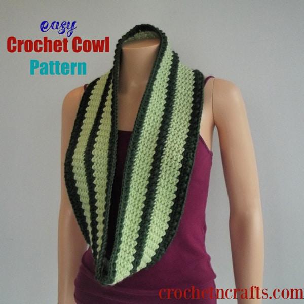 Easy Crochet Cowl Pattern ~ FREE crochet pattern that is easy to adjust in size.