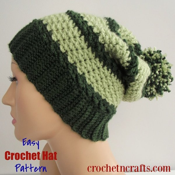Free Easy Crochet Hat Pattern. The crochet hat is modeled on adult small mannequin, but is easy to adjust to any size from baby to adult large.