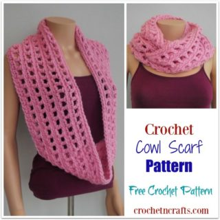 Crochet Cowl Scarf Pattern modeled on a mannequin.