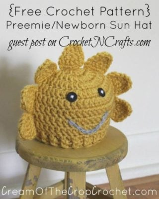 Preemie/Newborn Sun Hat by Cream Of The Crop Crochet for CrochetN'Crafts