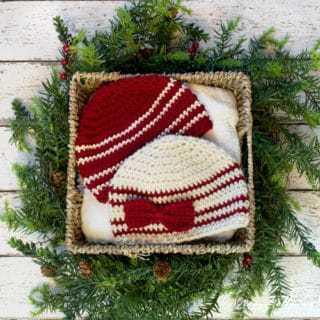Cranberries and Cream Easy Newborn, 0-3 Months Crochet Beanie by Kirsten Holloway Designs