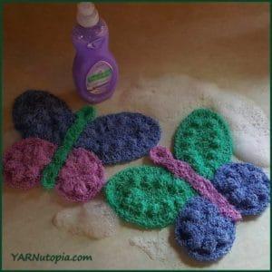 Butterfly Scrubby Washcloth by YARNutopia by Nadia Fuad