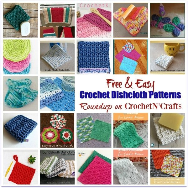 A roundup of free and easy crochet dishcloth patterns.