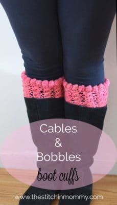 Cables and Bobbles Boot Cuffs by The Stitchin' Mommy