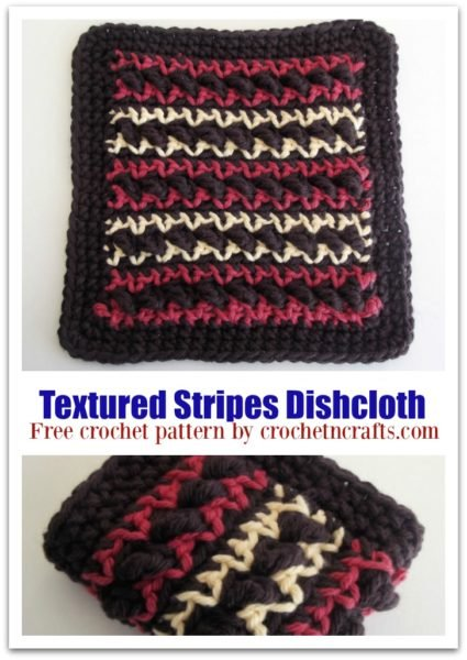 Textured Stripes Dishcloth shown laid out flat and folded. It features three colors, but you can just as easy choose one or two.