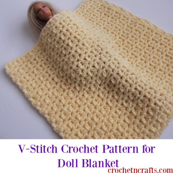 V Stitch Crochet Pattern For Doll Blanket Crochetncrafts