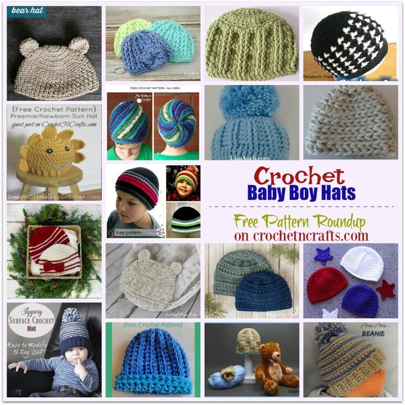 Free pattern roundup of over 15 crochet baby boy hats. Some of these hat patterns include multiple sizes and others can easily be adjusted in size. #crochet #baby #boy #hats #freecrochetpatterns #crochetncrafts.com