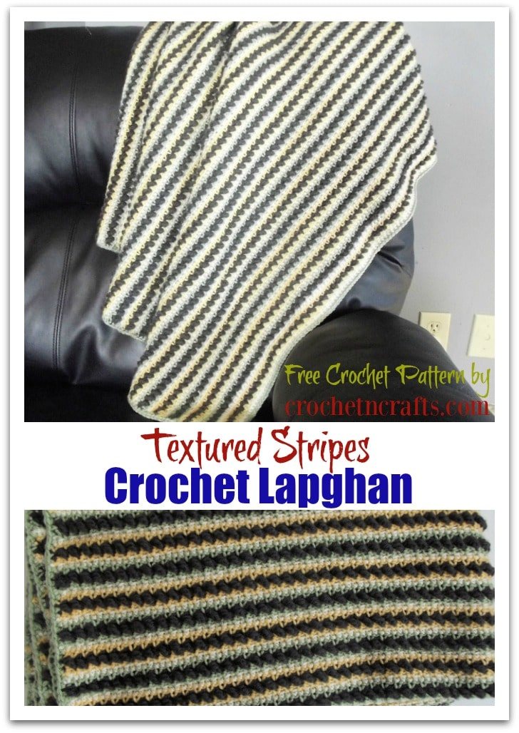 Textured Stripes Crochet Lapghan Shown Draped Over a Couch and Folded Up.