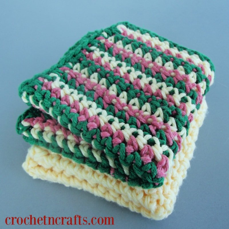Beginner Crochet Dishcloth Pattern With Striped Option
