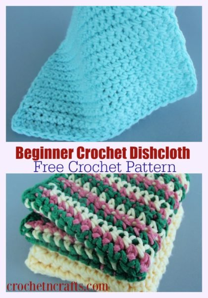 Beginner crochet dishcloth pattern shown in a solid color along with a pretty striped version.
