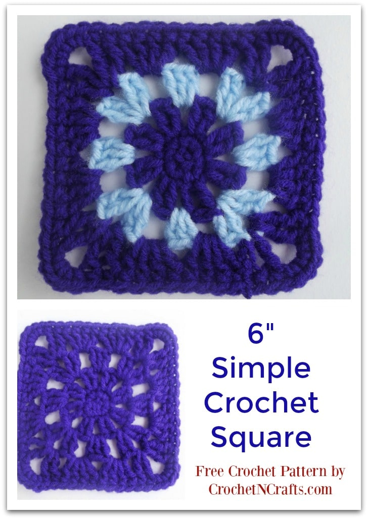 "6"" Simple Crochet Square for Blankets and Other Items. Free Crochet Pattern"
