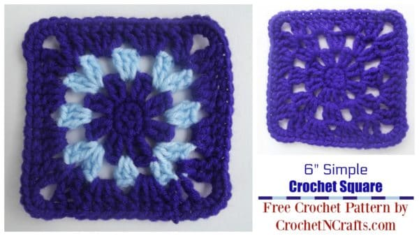 "Simple 6"" Crochet Afghan Square Shown in a Solid and Two-tone Version."
