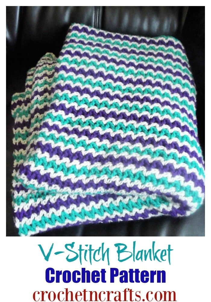 Free v-stitch blanket crochet pattern shown in 3 colors using a worsted weight yarn.