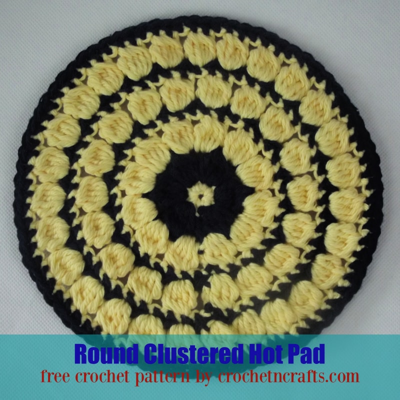 Round Clustered Hot Pad Crochet Pattern Shown in Two Colors.