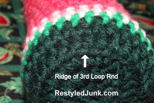 This image shows the ridge you get by working into the third loop of a half double crochet.