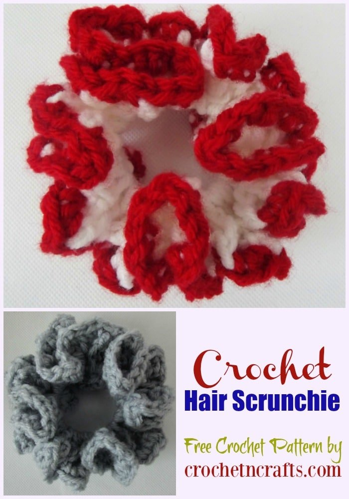 Crochet Hair Scrunchie ~ Free Crochet Pattern. The hair scrunchie can be made in a solid or two-tone color.