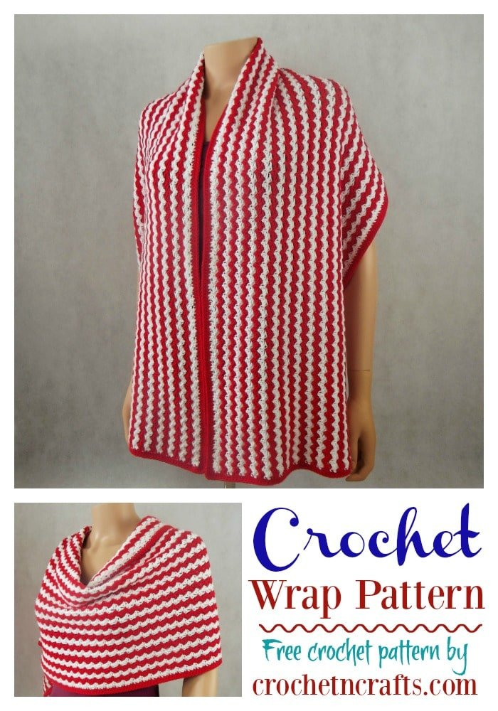 Crochet wrap pattern shown in two colors worn over the shoulders and wrapped around.