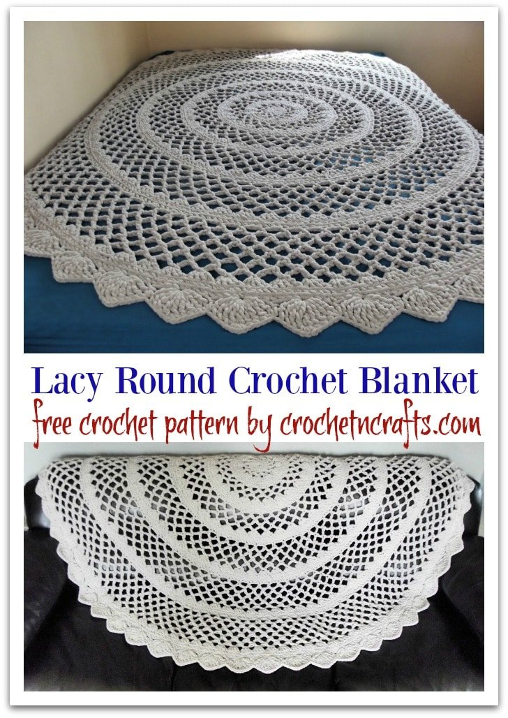 Lacy Round Crochet Blanket Pattern Crochetncrafts