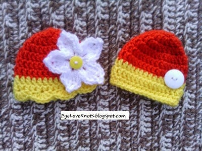 Preemie Yellow and Orange Embellished Twin Hats by EyeLoveKnots