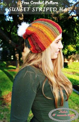 Sunset Striped Hat by Nicki's Homemade Crafts