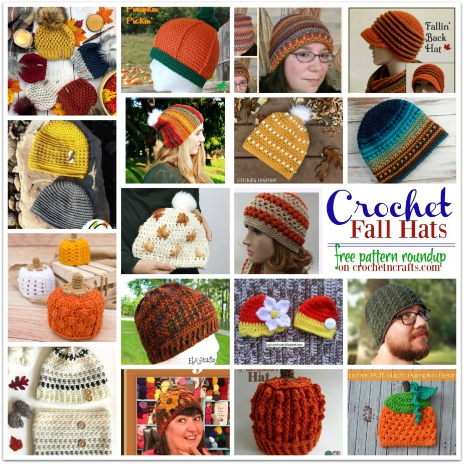 Crochet Fall Hats ~ FREE Crochet Pattern Roundup on CrochetNCrafts.com. These fall crochet hat patterns range in sizes from baby to adult large; some are adjustable while others are given in one size only.