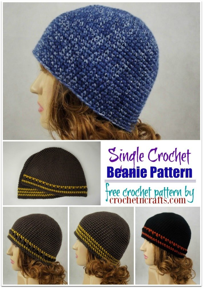 Single Crochet Beanie Pattern by CrochetNCrafts.com. Absolute beginners can crochet this in a single color, then move on to adding a few stripes and other stitch patterns along the edge. The free crochet hat pattern is easy to adjust in size making it great for men, women and children.