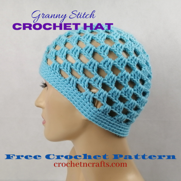Adult small granny stitch hat modeled on a mannequin.