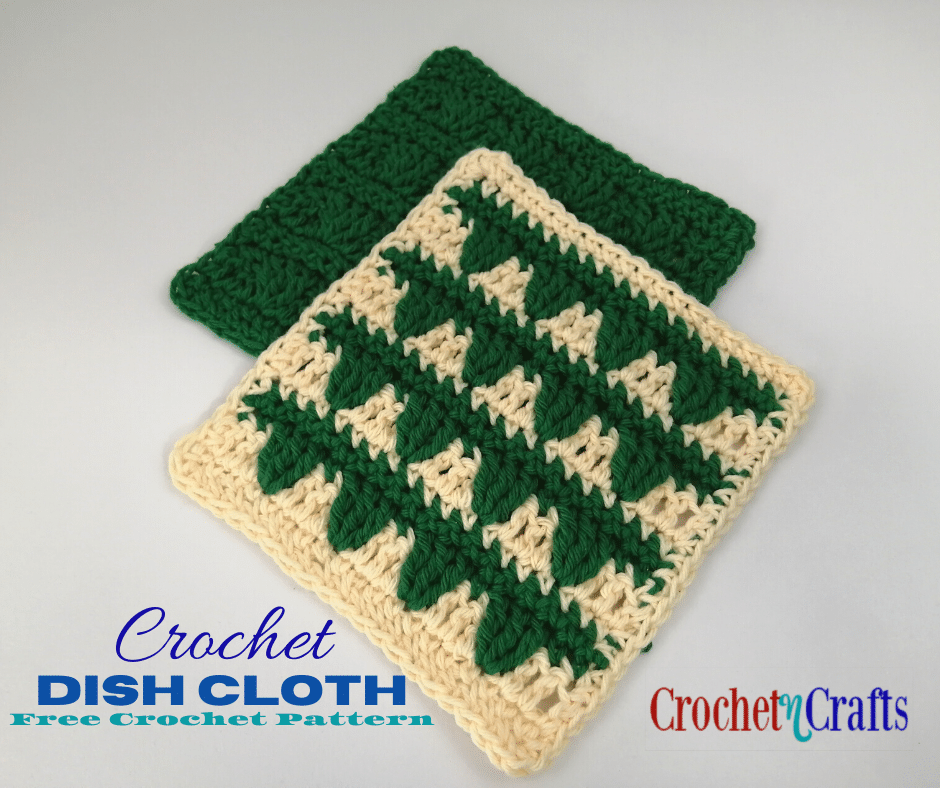 Crochet Dish Cloth Shown in Two Colors as well as in a Single Color.