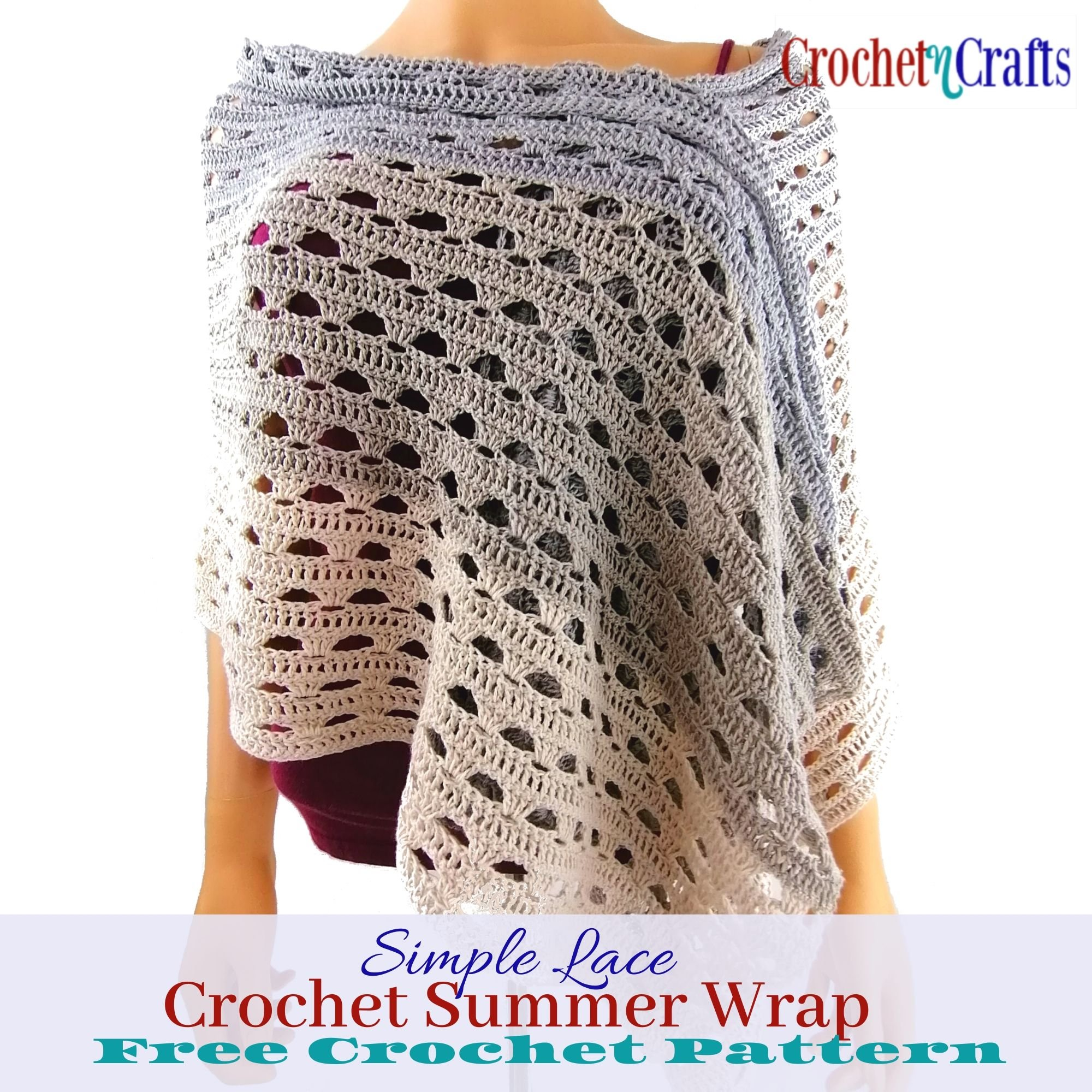 Simple Lace Crochet Summer Wrap worn at a slight angle.