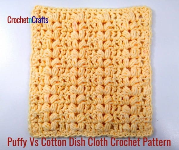 Crochet dishcloth worked up in puffy v-stitches.