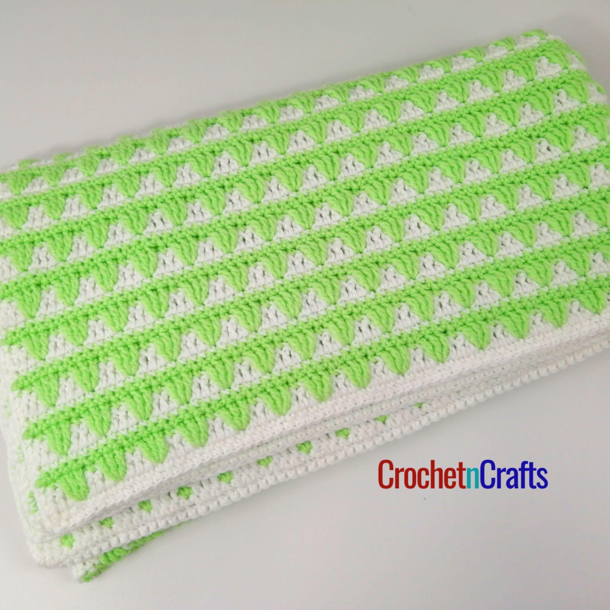 Two Color Crochet Baby Blanket Crochetncrafts