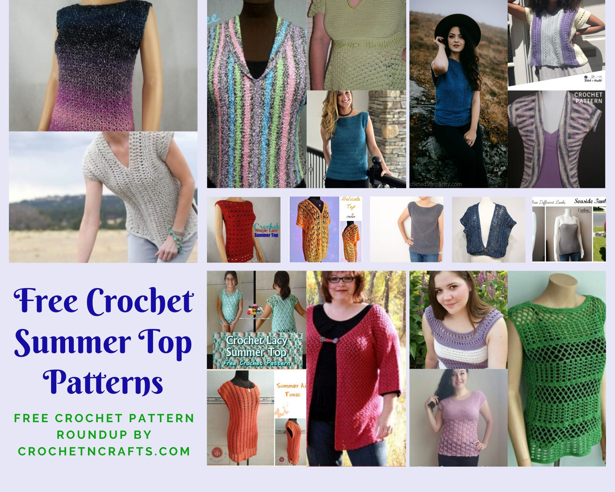 Collage of Crochet Summer Tops