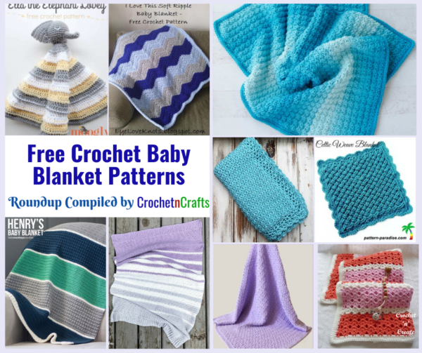 A collage of crocheted baby blankets.